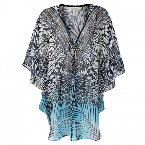 Women Shirts Sequined Printed Butterfly Chiffon Blouse Tops