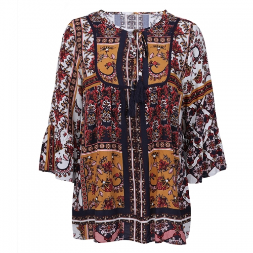 fancy ladies african print designer women's loose blouse & tops