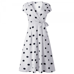 A line fashion print women polka dot wrap dress for lady