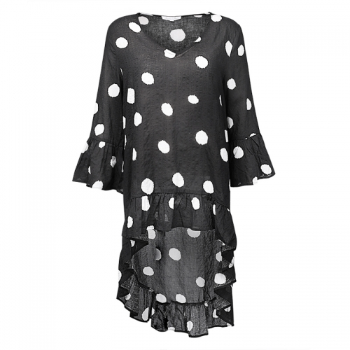 Long Sleeve prilly asymmetrical Polka Dot Women's blouse & tops