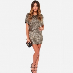 Hot ladies fashion sexy back hole mini sequin dress