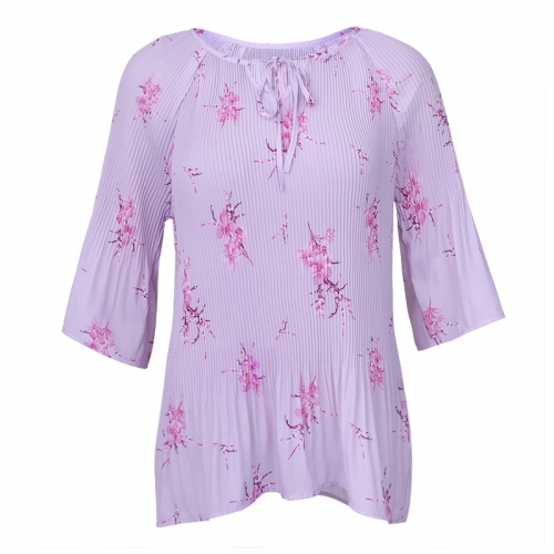 Long sleeve Elegant floral printed pleated women tops blouses