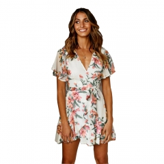 Summer women floral print mini ruffles beach wrap dress