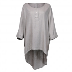 Latest clothing women O-neck loose asymmetrical hem blouses and tops ladies