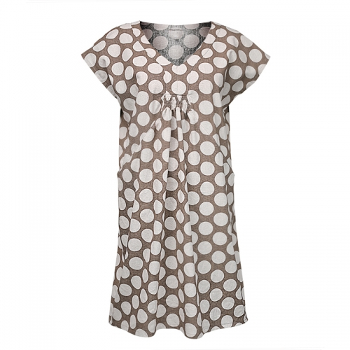 Plus size plain patterns printed polka dot summer dress women