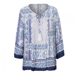 Casual women latest plus size printed blouse tops