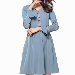New autumn ruffle long sleeve v-neck women casual dress