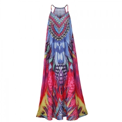 Latest fancy women sexy slip maxi dress print