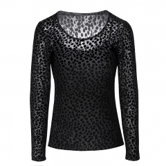 Autumn breathable black long sleeve women's blouse & tops
