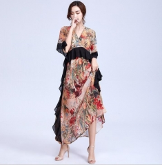 New printed chiffon V-neck casual women dress