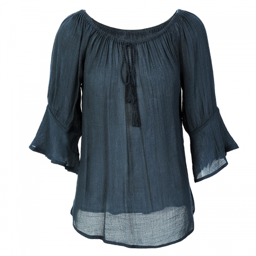 New lace solid half sleeve tassel plus size shirts & blouses