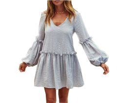 New Ladies Fashion Ruffle V-neck Puff Sleeve Dress