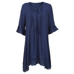 Designer women loose midi tassel lace navy blue midi dress