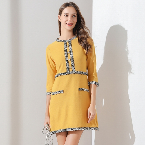 Yellow office casual dress for formal events