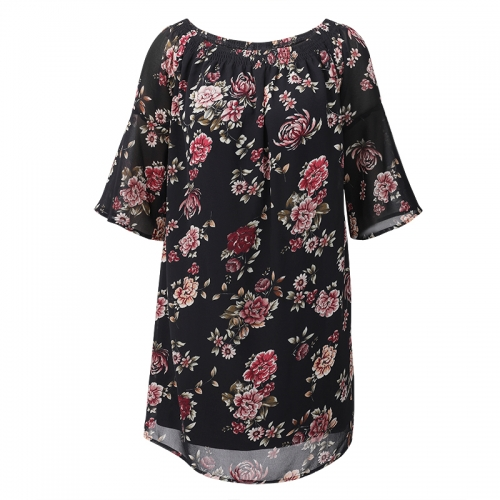 Women floral print off shoulder long tops and blouses