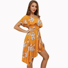 New sloping shoulder floral print irregular ruffle dress