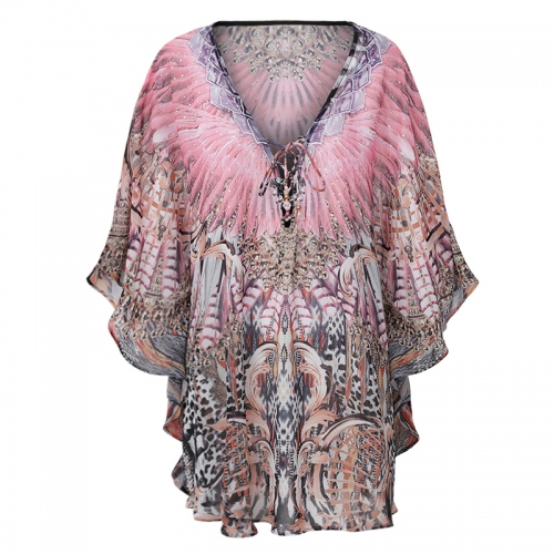 Sequined Printed Butterfly Chiffon Blouses Women 2019